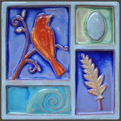 Nest Bird by Eartha Handmade Tile. American Made. See the designer's work at the 2016 American Made Show, Washington DC. January 15-17, 2016. americanmadeshow.com #americanmade, #americanmadeshow, #ceramic, #pottery, #tile, #bird