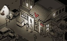 I saw a cat, illuminated by the streetlight. Illustration by the always-awesome Nigel Sussman