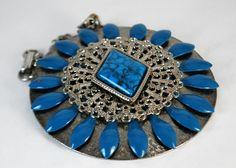 Turquoise Filgiree Pendant Enamel Silver Tone Faux Turquoise Fancy Chain