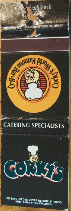 Corky's BBQ #matchbook To order your business' own branded #matchbooks call TheMatchGroup @ 800.605.7331 or go to www.GetMatches.com today!