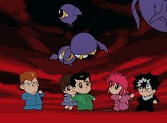 #yuyuhakusho #hiei #kurama #kuwabara #yusuke #anime #animegif #gif #animesantigos #oldschoolanime