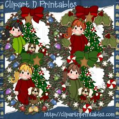 Girl Christmas Wreaths- #Clipart #ResellableClipart #Christmas #Wreaths #Girls #ChristmasTrees #Stars #Ornaments #Candy #Dog #Puppy #Bows #CandyCanes