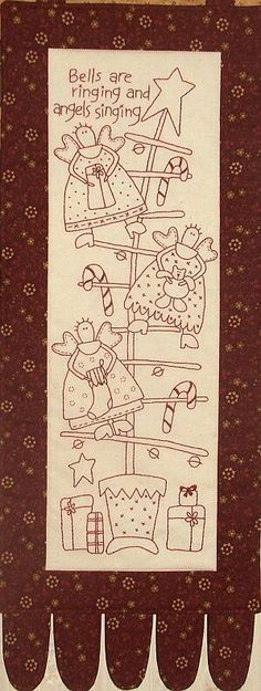Arbol de Angeles - redwork embroidery - holiday project