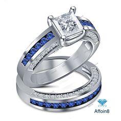 3.00 CT Princess Cut Diamond 14K White Gold Fn Women's Bridal Wedding Ring Set #affordablebridaljewelry #WeddingEngagementAnniversary