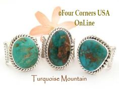 Mens Native American Turquoise Mountain Rings Four Corners USA OnLine
