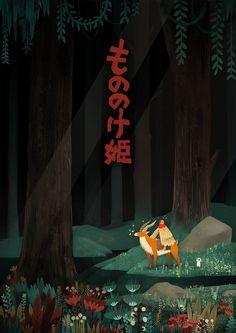 Princess Mononoke (もののけ姫) para la exposicón Artist on Film. Más info aquí: http://piñataproductions.com/artist-on-film/