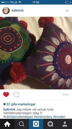 Bilderesultat for kallmink Swedish Embroidery, Wool Embroidery, Wool Applique, Cross Stitch Embroidery, Embroidery Designs, Felt Pillow, Felted Wool Crafts, Embroidered Bird, Contemporary Embroidery
