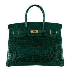 Hermes 35cm Birkin Emerald Green Crocodile Bag Gold Ghw | MALLERIES
