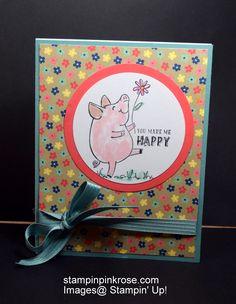 Stampin' Up! Friendship or Hello card made with This Little Piggy stamp set and designed by Demo Pamela Sadler. See more cards at stampinkrose.com #stampinkpinkrose#etsycardstrulyheart