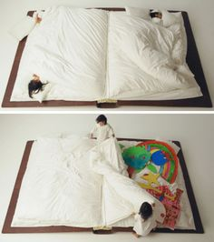 it looks like just about the most fun bed ever conceived. And when the kids get too tired? They can simply flop over and fall asleep, simple as that....only for the coolest sleepovers ever..