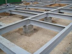 The grillage foundation with metal frame, its advantages and main characteristics, installation tips. Steel Frame House, A Frame House, Steel House, Building A Container Home, Container House Design, Tiny House Design, Building Foundation, House Foundation, Steel Structure Buildings