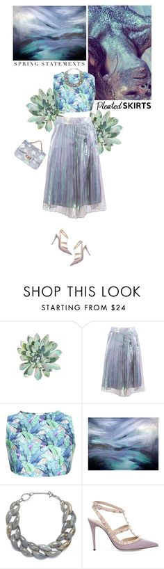 """Pleats, please!"" by helena99 ❤ liked on Polyvore featuring Basta, DIANA BROUSSARD, Valentino, Folio, Silver, pleatedskirts and palmprint"