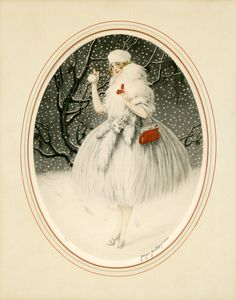 "Print Icart Era Art Deco ""Fun Fur Snow"" Georges Grellet Louis Icart 217 | eBay"