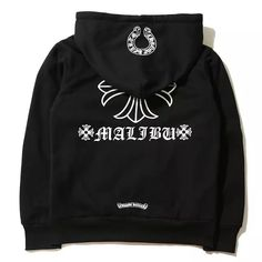 Chrome Hearts Signature Cross Printed Black Cotton Hoodies