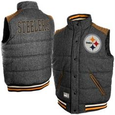 e5cb0616 Pittsburgh Steelers Legacy Button-Up Reversible Vest - Gray Steelers Jacket,  Steelers Gear,