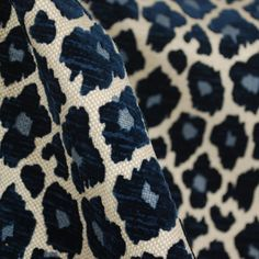 Navy Blue Chenille Animal Print Fabric | Cheetah Upholstery | Simba Navy