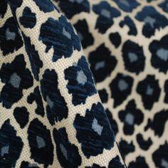 Navy Blue Chenille Animal Print Fabric   Cheetah Upholstery   Simba Navy