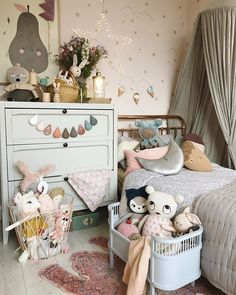 A dreamy girls bedroom with soft grey bed canopy and bunting by rainbow bed sheet by Swedish Linens, rainbow light by Little Lights, and garlands and mobiles by Velveteen Babies. Styled by Velveteen Babies. Playroom Decor, Baby Room Decor, Kids Decor, Bedroom Decor, Home Decor, Baby Bedroom, Nursery Room, Girls Bedroom, Childrens Bedrooms Girls
