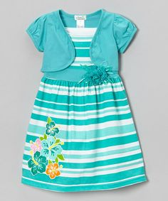 Loving this Teal Stripe Hibiscus Dress & Shrug - Infant, Toddler & Girls on #zulily! #zulilyfinds