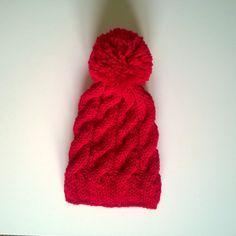 Red Cable Pom Pom Beanie Knit Beanie with by HandicraftByDamla