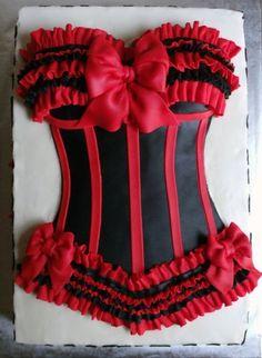Red & Black Ruffled Corset Cake