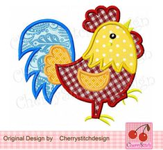 Rooster 01 Digital Applique 4x4 5x7 by CherryStitchDesign on Etsy, $2.99