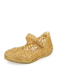 Mini Melissa + Campana Zig Zag IX Jelly Mary Jane, Gold  by Melissa Shoes at Neiman Marcus. Cute instead of sandals for Brooklyn