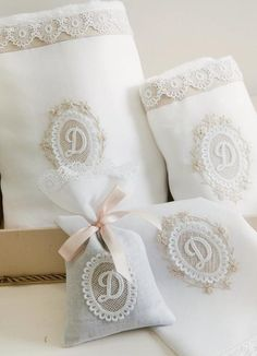 towels Bathroom Towel Decor, Decorative Hand Towels, Embroidered Towels, Small Pillows, Shabby Chic Pink, How To Make Pillows, Linens And Lace, Love Sewing, Machine Embroidery
