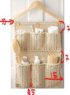 pchettes3 Crochet Diy, Crochet Home, Filet Crochet, Yarn Crafts, Diy And Crafts, Crochet Organizer, Diy Rangement, Crochet Squares, Crochet Accessories