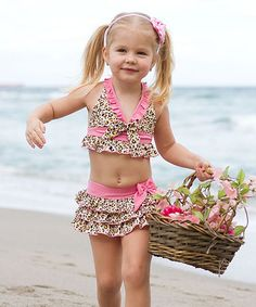 Look what I found on #zulily! Tan & Pink Leopard Ruffle Skirted Tankini - Toddler & Girls #zulilyfinds