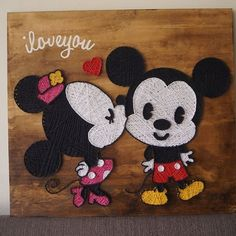 String art😊Mickey nd Minnie mouse😇 . Can be customized in other variations . Dm for price/order/queries . Diy Resin Crafts, Diy Arts And Crafts, Cute Crafts, Diy Craft Projects, String Art Tutorials, String Art Patterns, Disney Diy, Disney Crafts, Nail String Art