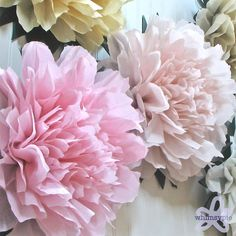 LUCKY PEONY. 5 Giant Tissue Paper Flowers wedding por whimsypie