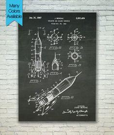 Rocket Print, Patent Print, Patent Poster, Patent Art, Nasa Poster, Rocket Poster, Space Decor, Spaceship, Space Art, Blueprint Poster 066 by PatentPosterPrints on Etsy https://www.etsy.com/listing/224692177/rocket-print-patent-print-patent-poster