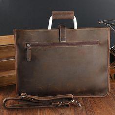 646923a178cf Handmade Leather Men Vintage Briefcase Handbag Laptop Bag For Men