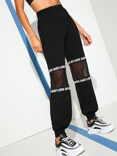 To find out about the Contrast Mesh Letter Print Tape Panel Utility Pants at SHEIN, part of our latest Pants ready to shop online today! Teen Fashion Outfits, Trendy Outfits, Cool Outfits, Dope Fashion, Fashion Black, Fashion Pants, Fashion Ideas, Pantalon Cargo, Type Of Pants
