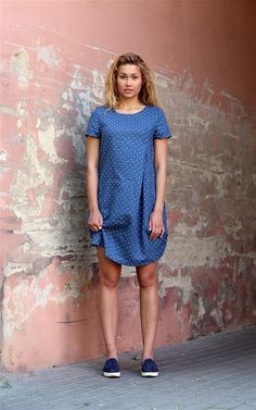 Blue linen dress / Blue Polka Dot Linen Dress With by PeuShop