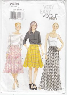 Misses' Lined Skirts Pockets 3 Versions  VOGUE Sewing Pattern 8818 Sz 4-14 Unct
