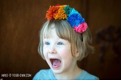 Rainbow Pom-Pom Headband with make-it-your-own.com (Crafts & Activities for Kids)