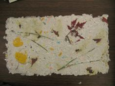 Handmade paper with leaves (pin + photo: Pam Stephens: artworks by kids) Paper Art, Paper Crafts, Diy Crafts, How To Make Paper, Paper Mache, Tissue Paper, Making Ideas, Craft Supplies, Artworks