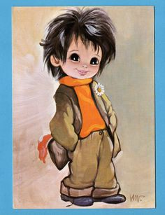 Vintage big eye boy doll postcard from the 70's. by bluumievintage