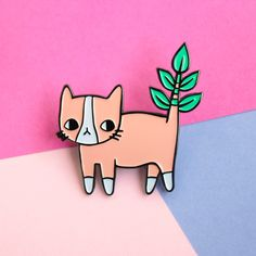 This friendly plant-loving feline. Plant Kitty Soft Enamel Pin ~ Anne Knispel, ponyponypeoplepeople etsy • https://www.etsy.com/listing/277533364/plant-kitty-soft-enamel-pin?show_sold_out_detail=1
