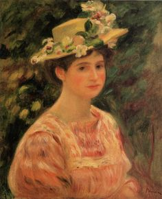 Pierre-August Renoir Young Woman Wearing a Hat with Wild Roses