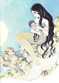 赤い蝋燭と人魚 画:高橋真琴 The Mermaid and the Red Candles (Akai Rosoku to Ningyo) illustration:Macoto Takahashi Manga Drawing, Manga Art, Manga Anime, Anime Art, Siren Mermaid, Mermaid Pictures, Arte Obscura, Mermaids And Mermen, Red Candles