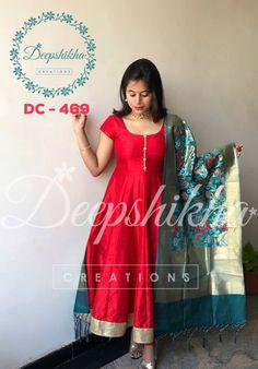 Beautiful Red Color Floor Length Anarkali Dress With Benarasi DupattaFor Queries