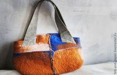 """сумка из войлока среднего размера с кожаными ручками""""Street look"""" дизайн Felt&Paper"""