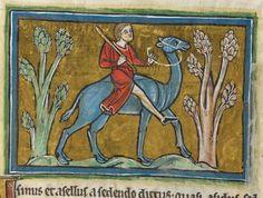 Animal detail from medieval illuminated manuscript  - British Library Royal MS 12 F XIII - c 1230-14th century - f38v