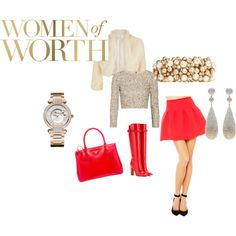 Red hot skirt with bling top ,white shrug,black clutchbag and shoes completes the look. Womens Worth, Hot, Skirts, Polyvore, Black, Fashion, Moda, Black People, Skirt