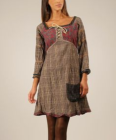 Another great find on #zulily! Brown & Raspberry Plaid Lace-Up Square Neck Dress #zulilyfinds