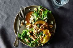 Warm Farro and Mustard Green Salad with Maple-Roasted Acorn Squash recipe on Food52