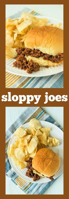 Ground beef is slathered in a mixture of onions, green pepper, ketchup, and mustard and served on a soft potato bun. #recipe #easydinner #sloppyjoe #sandwich #beef #kidsmeal